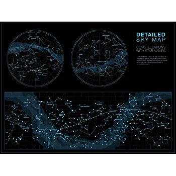 Higly Detailed Sky Map Poster - Constellations with Star Names - Wall Art Print for School Home Office Classroom Décor - 16X24 inches