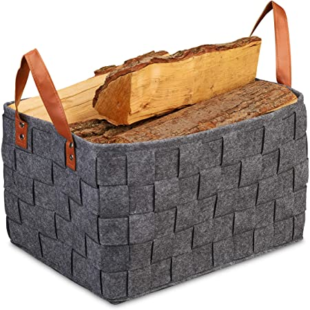 Relaxdays 10035359_709 Panier de Rangement Feutre, Pliable, boîte, avec anses, HxlxP 26 x 40 x 30 cm, Gris foncé, 1 élément