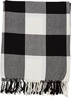 Fennco Styles Rustic Buffalo Plaid 100% Cotton Throw Blanket with Hand-Knotted Fringe (Black)
