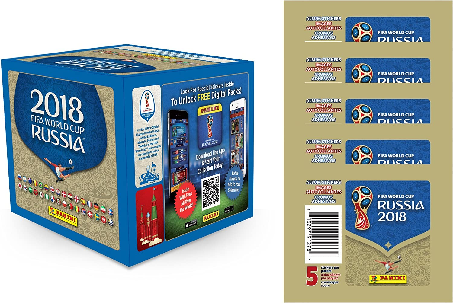 2018 Panini World Cup Stickers  Box + 5 Packs (Total of 55 Packs)