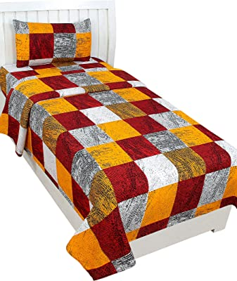 cottonhandicool 3D Printed Luxury Single Bedsheet with 144 TC 200 GSM with 1 Pillow Cover-Yellow & Maroon