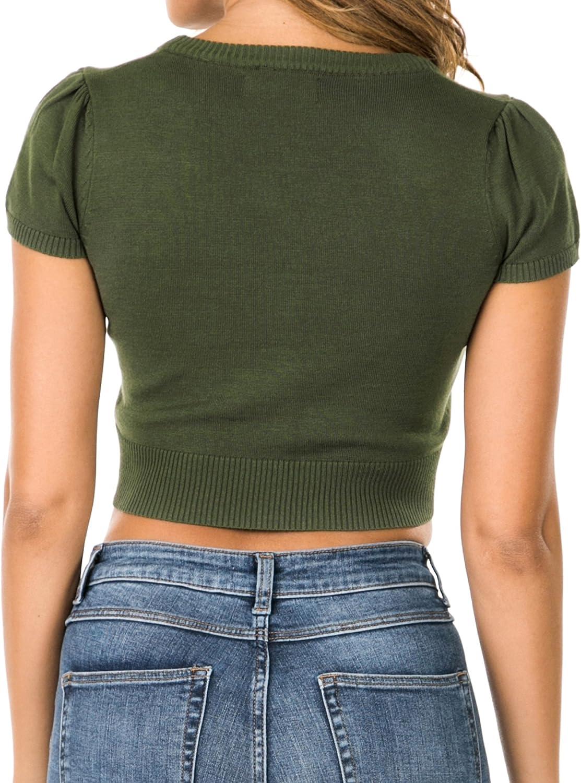 Nolabel Women's Botton Down Short Sleeve V Neck Bolero Fitted Shrug Cropped Cardigan Kint Sweater (S~3XL Plus Size)