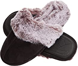 Jessica Simpson Comfy Faux Fur Womens House Slipper Scuff Memory Foam Slip On Anti-Skid Sole (Size Large, Black)