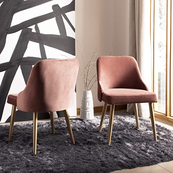 Safavieh DCH6200D SET2 Home Collection Lulu Dining Chair Dusty Rose Gold Dusty Rose Gold