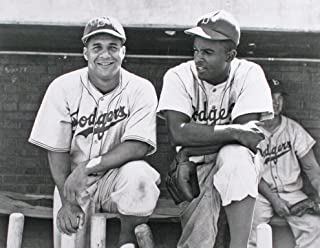 Major League Baseball Hall Of Famers Brooklyn Dodgers Jackie Robinson And Roy Campanella Together in 1948. 11x14 Black & W...