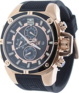 Technosport TS-100-1 Unisex Swiss Multifunction Watch GMT/Month/Day/Date Indicators Rose Gold Case & Black Silicone Strap