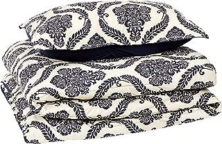 AmazonBasics Comforter Set, Twin / Twin XL, Blue Damask, Microfiber, Ultra-Soft