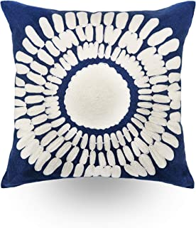 Hodeco Embroidery Throw Pillow Covers Navy Blue 18x18 Decorative Floor Pillows Cover 100% Cotton Cushion Cover Throw Pillow Case for Couch Bed Room Dark Blue Sun Flower Embroidered Pillow, 1 Piece