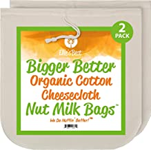 """Nut Milk Bags - Unbleached Organic Cotton Cheesecloth - 12""""x12"""" - 2 Pack - Perfect Size Mesh Strainer for Almond Milk-Chee..."""