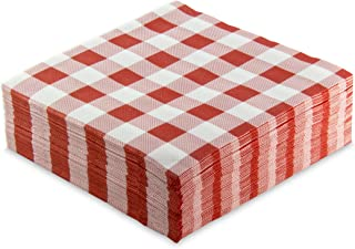 Morigami Per servetten 40 x 40, 2-laags, 1/4 vouw, 50 servetten, punta-punta, geruit, rood