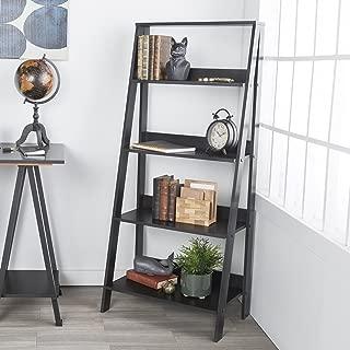 WE Furniture 4 Shelf Simple Modern Wood Ladder Bookcase Bookshelf Storage, Black