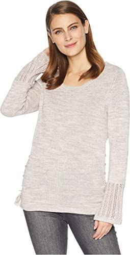 Crew Neck Sweater with Sleeve Detail
