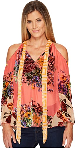 Hale Bob - Creative License Silk with Burnout Velvet Cold Shoulder Top