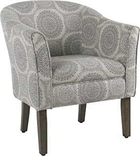 HomePop Barrel Shaped Accent Chair, Grey Medallion