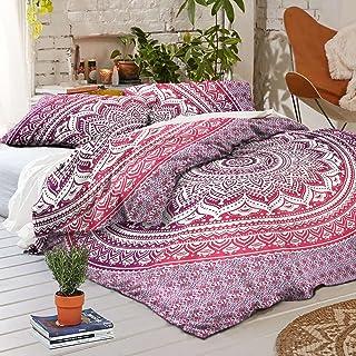 Sophia-Art Juego de funda de edredón con fundas de almohada, diseño de mandala, color rosa