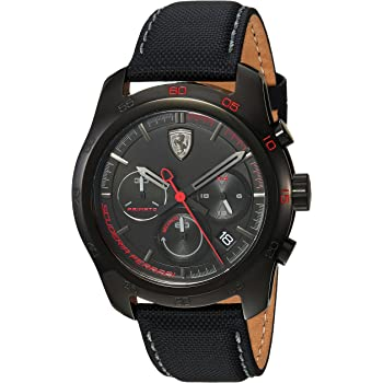Ferrari Men's PRIMATO Stainless Steel Quartz Watch with Nylon Strap, Black, 22 (Model: 830446)