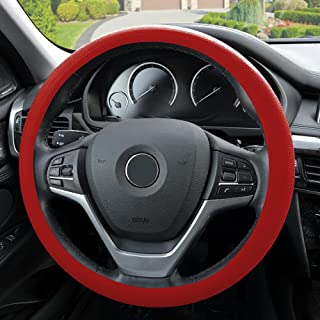 FH Group FH3001RED Red Steering Wheel Cover (Silicone Snake Pattern Massaging grip in Color-Fit Most Car Truck Suv or Van)