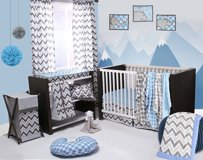 Bacati Ikat bluee Grey 6 Crib Set with 4 Muslin Blankets