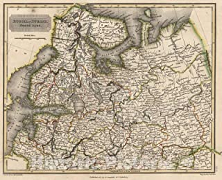 Historic Map - 1817 Russia in Europe. North Part - Vintage Wall Art - 44in x 36in