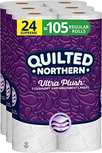 Quilted Northern Ultra Plush Toilet Paper, 24 Supreme Rolls, 24 = 99 Regular Rolls, 3 Ply Bath Tissue,8 Count (Pack o...