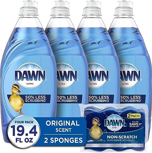 Dawn Ultra Dishwashing Liquid Dish Soap (4x19oz) + Non-Scratch Sponge (2 Count), Original Scent