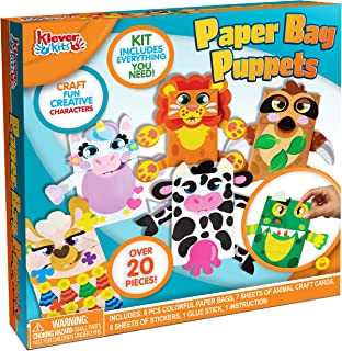 6 Designs Hand Puppet Paper Bag Art and Craft Paper, DIY Making Your Own Puppet Kits Pretend Play Includes Unicorn, Dinosa...