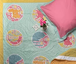 Pink Guppy Kids 200 TC, 100% Cotton, Girls Quilt/Coverlet with Eurosham, Twin Bed Size in Blue, Moss Green, Hot Pink & Ochre with Paisley Print & Indian Motifs (2 Piece Bedding Set)