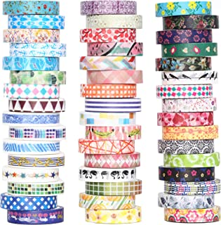 48 Rolls Washi Tape Set - 8mm Wide Decorative Masking Tape, Colorful Flower Style Design for DIY Craft Scrapbooking Gift Wrapping