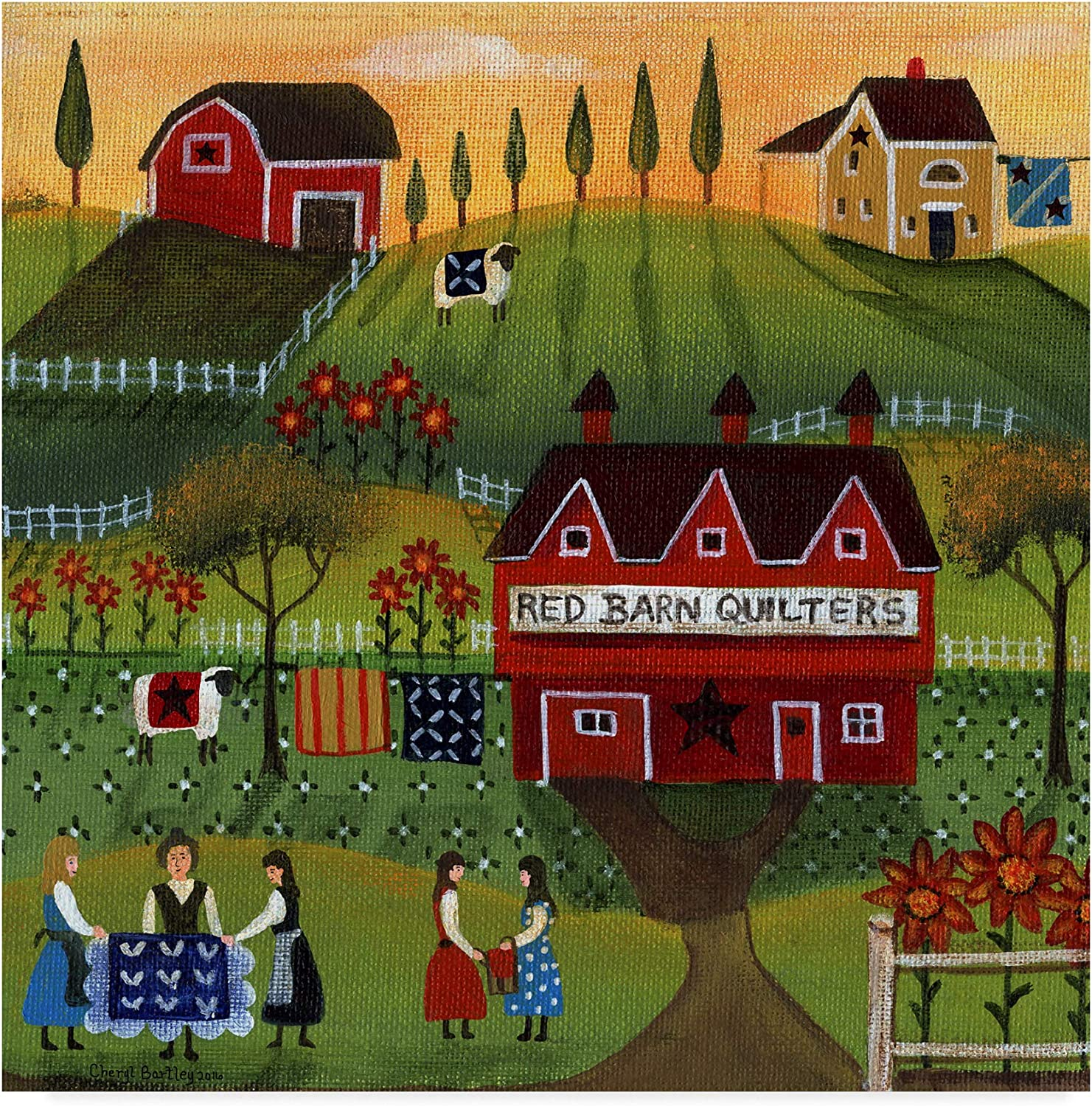 Trademark Fine Art Red Barn Quilters 1 by Cheryl Bartley, 14x14 Fine Art, Multicolor