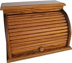 Roll Top Bread Box Amish Handcrafted Storage Oak Bin Wooden (Chestnut)