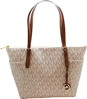 24e8f428c3a5 Michael Kors Jet Set Item Large East West Signature Top Zip PVC Tote
