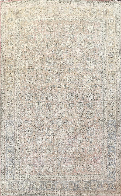 Antique Floral Distressed Tebriz Oriental Soldering Hand-Kno New mail order Rug Area Wool