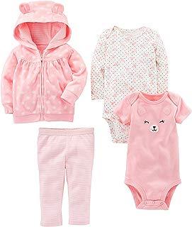 Baby Girls' 4-Piece Fleece Jacket, Pant, and Bodysuit Set