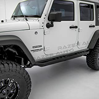 Razer Auto Rock Crawler Side Slider Rocker Guard Black Textured for 4 Door with Step Tube Running for 07-17 Jeep Wrangler JK