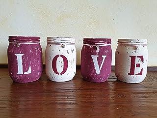 Vasi LOVE, set in 4, shabby, idea regalo, San Valentino, personalizzabile