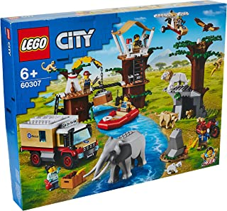 LEGO 60307 City Wildlife Rescue Camp Set with Animal Figures, Truck, Treehouse and Floating Boat Toy for Kids