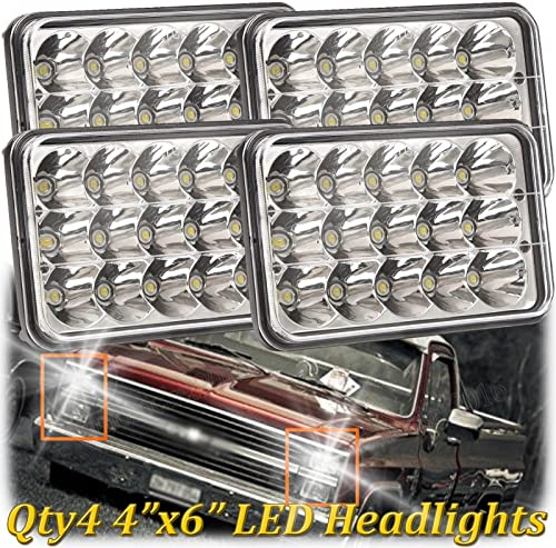 wholesale 4X6 LED Sealed Beam Lights for Chevy Pick Up 1981-87 High Low Beam Projector Rectangular Headlight discount high quality Crystal Clear H4651 H4642 H4652 H4656 H4666 H4668 H6545 Super Bright, Pack of 4, 2 Year Warranty online