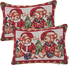 Queenie - 2 Pcs Christmas Series II Tapestry Decorative Pillowcase Cushion Cover Throw Pillow Case with Cord 13 X 17.75 Inch (33 X 45 Cm), Set of 2 (Bears In Santa Hats)