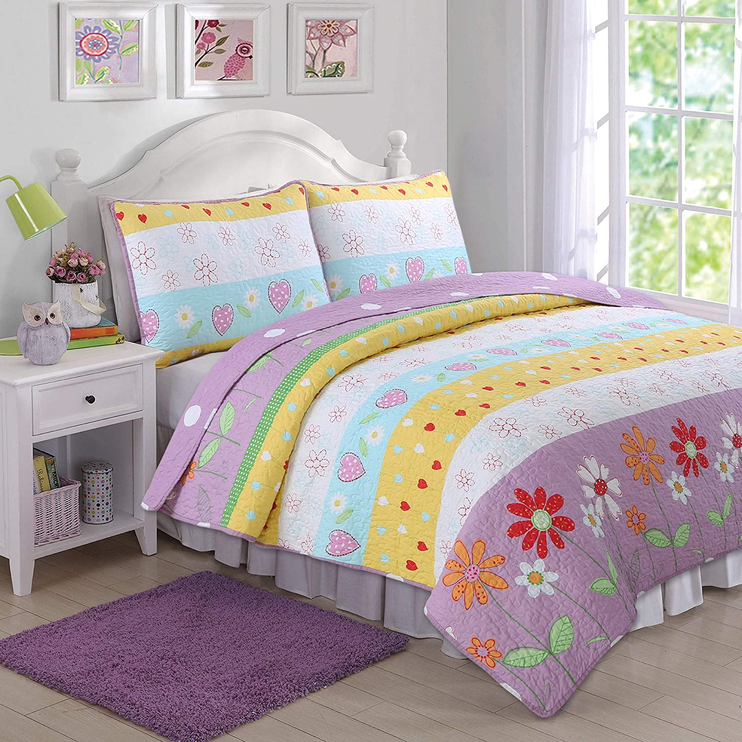 Playful Max 68% OFF Choice Girl Fun Heart Floral Kids 3-Piece Multi-Colored Purple