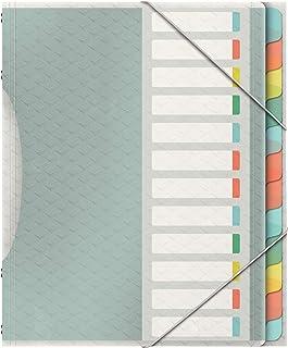 Esselte 626256 Colour'Ice Esselte Trieur A4 capacité 200 feuilles index Interchangeable avec 12 Onglets double fermeture é...