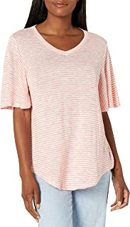 Nine West womens Amelie V neck Short Sleeve Tee Shirt T-Shirt
