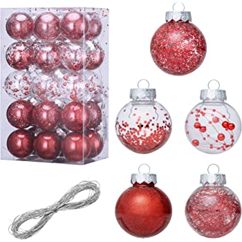 Christmas Ball Ornament Decorations Shatterproof Plastic 30pcs//set Baubles