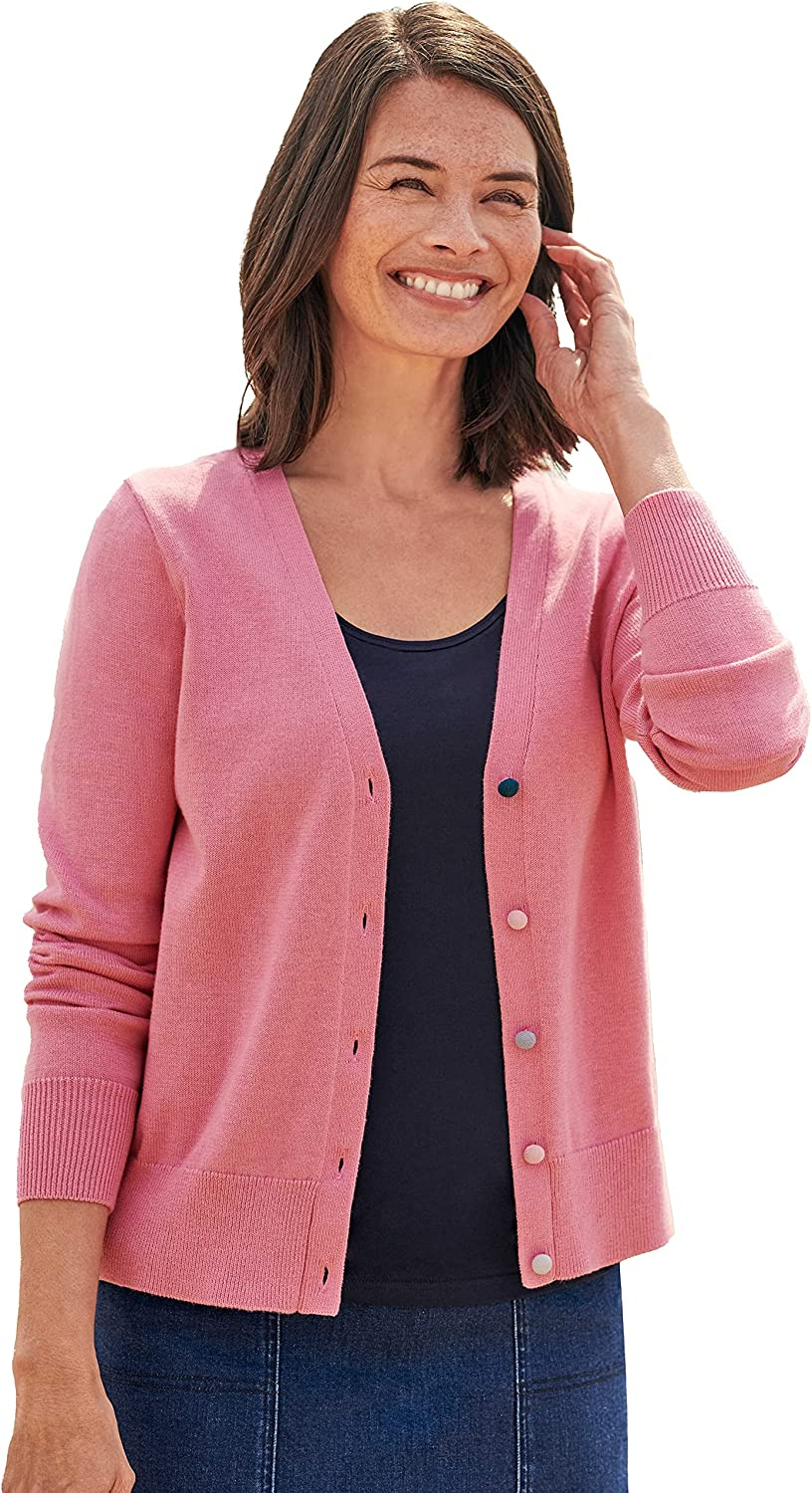 WoolOvers Womens Cotton Button V Neck Cardigan Long Sleeve