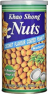Khao Shong Coconut Flavour coated Peanuts, Erdnüsse mit Kokos, knackige Nüsse im würzig-süßen Kokusnuss Mantel, knuspriger Snack, 1 x 360 g Dose