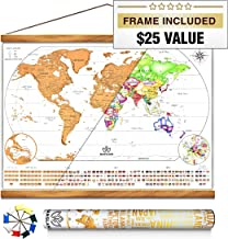Mansland World Map Scratch Off - with Teak Wood Frame, Easy to Scratch Map Gold Foil 24