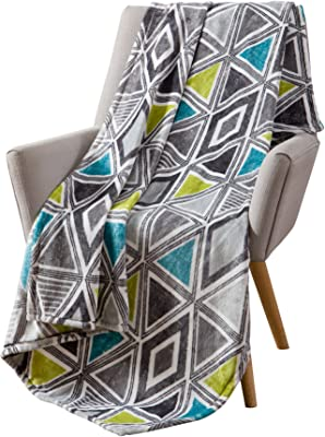 Cosmopolitan Decorative Throw Blanket: Soft Plush Modern Geometric Patterned Accent for Couch or Bed, Colored: Teal, Grey, Lime Green VCNY Tribecca