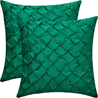 The White Petals Emerald Green Euro Sham Covers (Faux Silk, Pinch Pleat, 26x26 inch, Pack of 2)