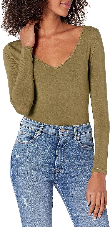 The Drop Women's Patricia Long-sleeve Deep V-neck Second Skin Bodysuit