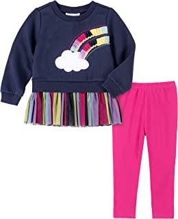 Kids Headquarters Girls' 2 Pieces Leggings Set, Navy/Pink, 5