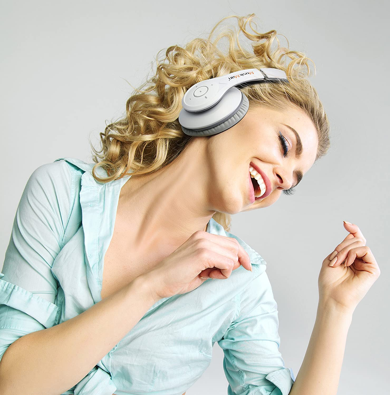 MusicMan BassHead Stereo-Kopfh/örer Akku, MP3-Player, FM Radio und MicroSD Kartenslot blau